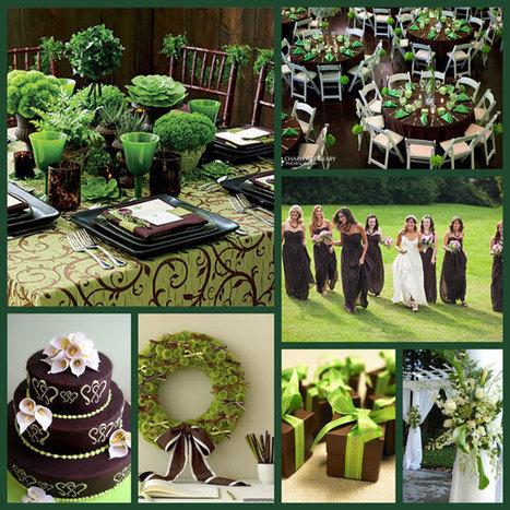 Wedding Koozie Colors Green Brown Wed