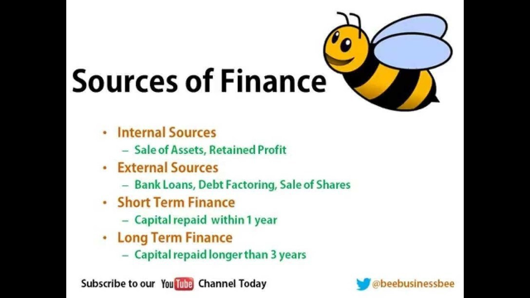 sources of finance 2018-10-12 an introduction to the different sources of finance available to management, both internal and external an overview of the advantages and disadvantages of the different sources of funds an understanding of the factors governing the choice between different sources of funds this final.