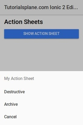Ionic 2 Action Sheet Example | Bottom Sheet Onl