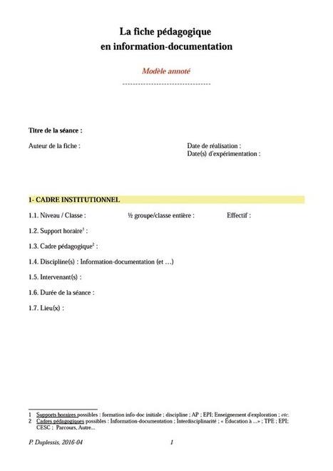 La fiche pédagogique en information-documentation : Modèle à l'usage des professeurs documentalistes préparant une séance d'enseignement-apprentissage seuls ou en interdisciplinarité - L T C | Pédagogie info-documentaire en CDI | Scoop.it