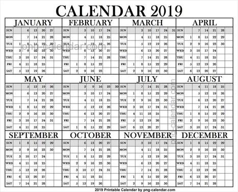 Vertical 2019 Calendar Printable Template Png