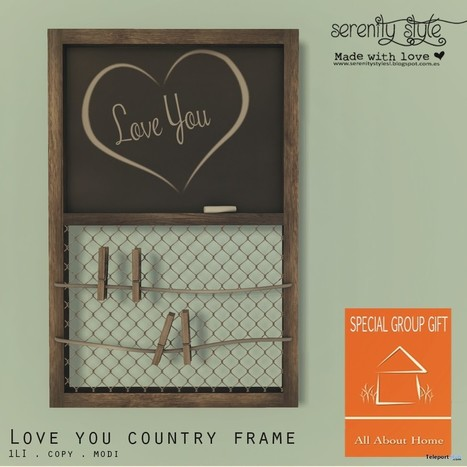 Love You Country Frame AAH Group Gift by Serenity Style | Teleport Hub - Second Life Freebies | Second Life Freebies | Scoop.it