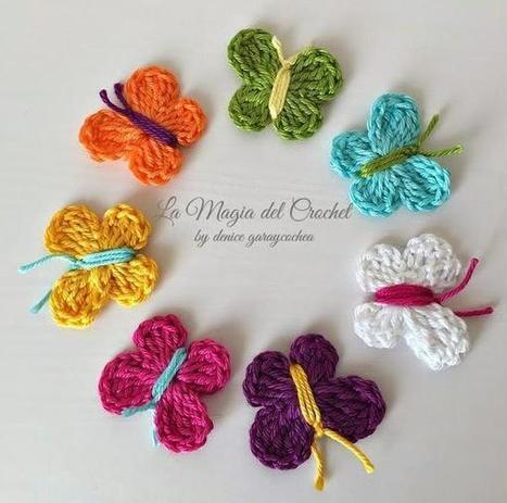 Mariposas A Crochet Quieres Ver Coacu - Como-hacer-una-flor-de-lana