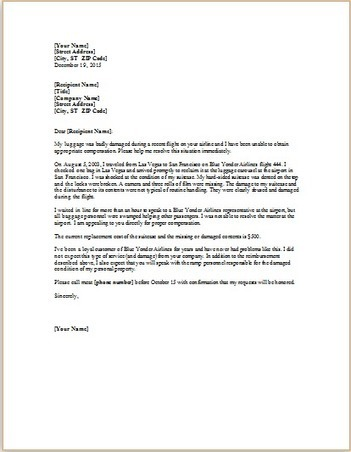 complaint letter about damaged luggage