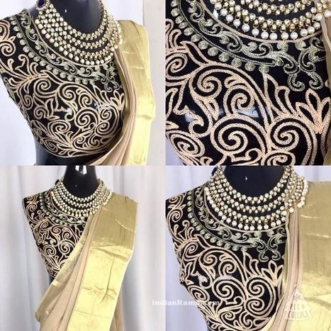 Modern Black Blouse Designs with Gold Embroidery, Indian Fashion | Indian Fashion Updates | Scoop.it