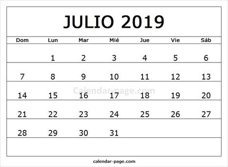 Calendario Julio 2019 Para Imprimir.Julio 2019 Calendario Calendario 2019 En Espa
