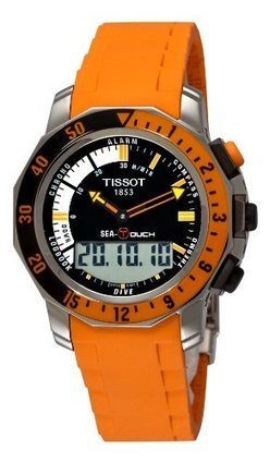 b60882bfd655 Tissot Men s T0264201728102 Sea-Touch Orange Chronograph Touch Dial Watch