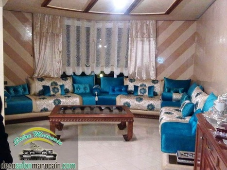 Charmant Salon Marocain Turquoise Haute Gamme |Salon Marocain Moderne 2014