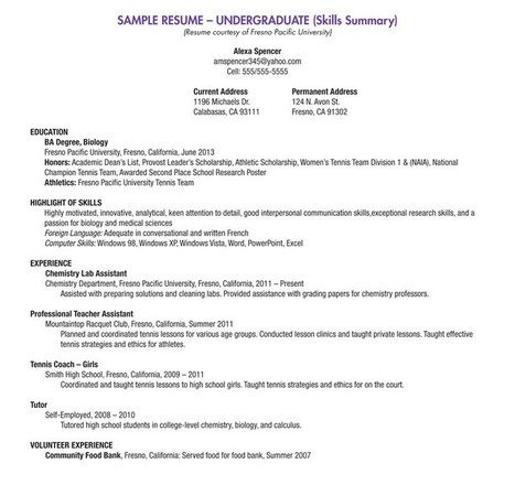 Blank Resume Template For High School Students