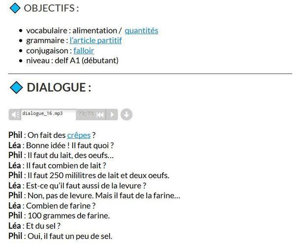 Faire des crêpes - dialogue FLE pour d&ea