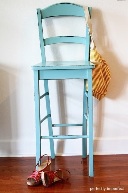 Painted Furniture Turquoise Bar Stool Makeove