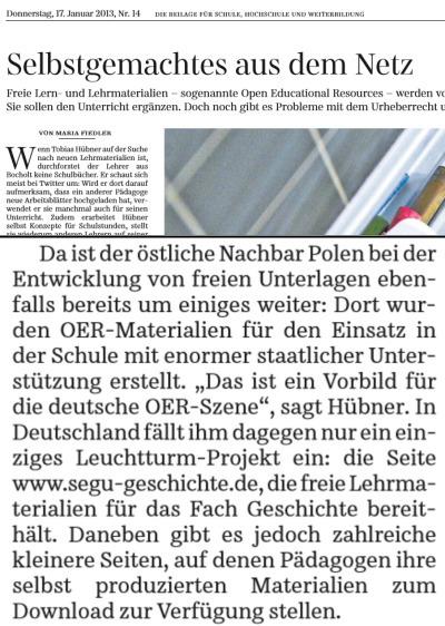 Süddeutsche Zeitung | segu: Leuchtturm-Projekt in Deutschland | Artikel über OER | segu_geschichte Magazin | Scoop.it