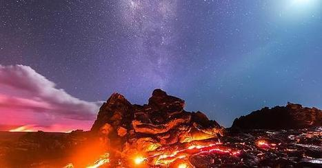 [Earth] A Volcanic Eruption with the Milky Way, the Moon, and a Meteor behind it, Hawaii© Mike Mezeul | Hawaii's News @ Twitter Speed! | Scoop.it