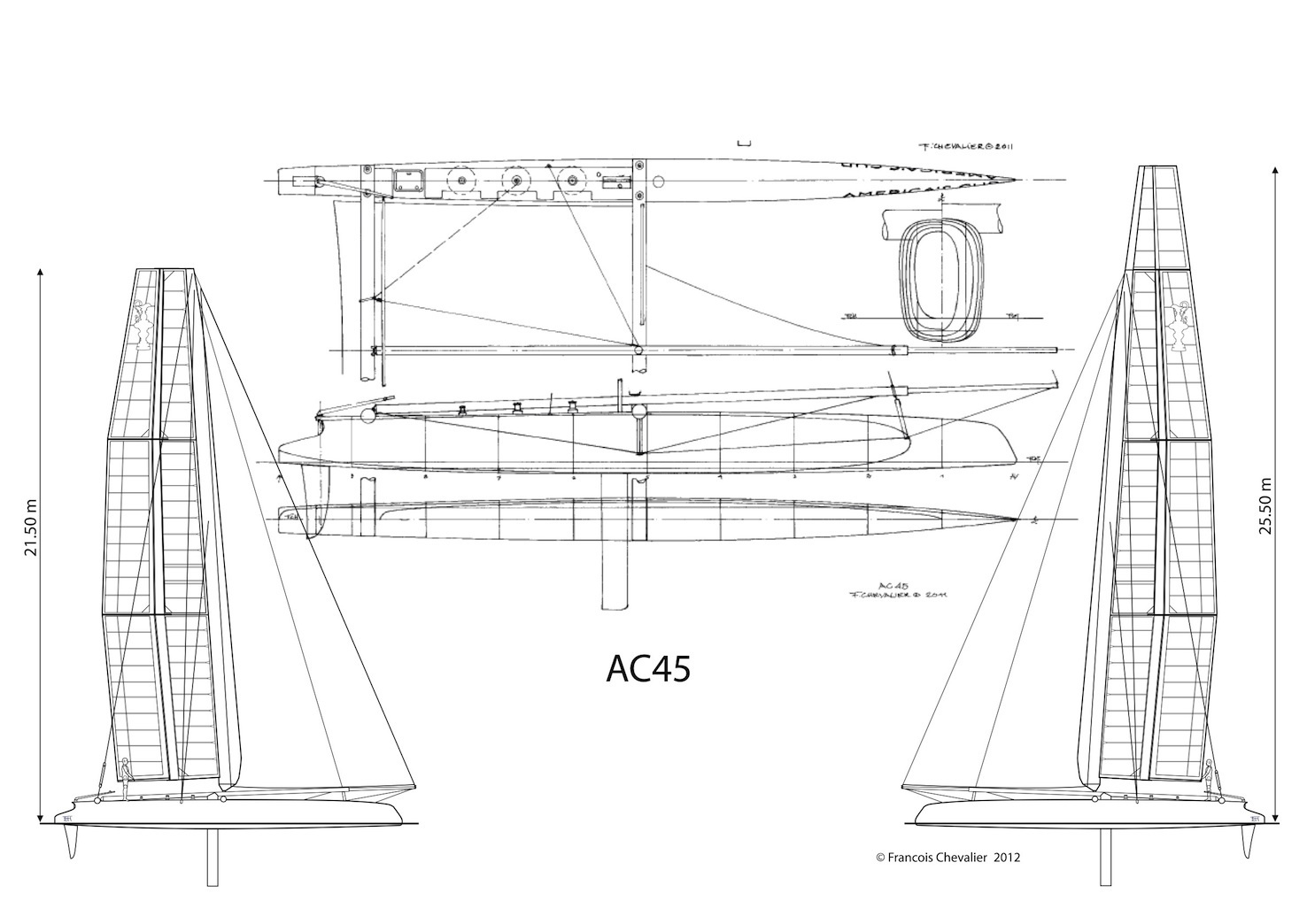 Ac45 Lines And Sail Plan By Fran 231 Ois Che