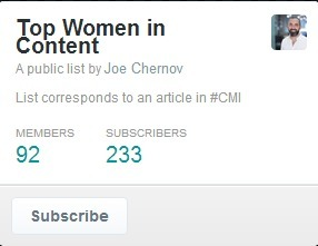 Top Women in Content on Twitter in @jchernov Twitter List | Content Marketing and Curation for Small Business | Scoop.it