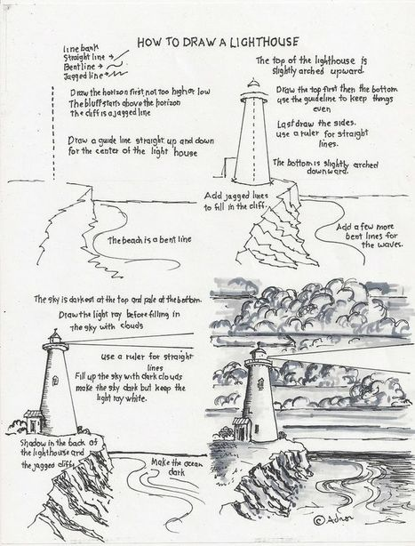 lighthouse in drawing and painting tutorials