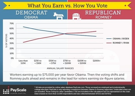 Election Stats: What You Earn vs. How You Vote [infographic] - The Salary Reporter | data visualization | Scoop.it