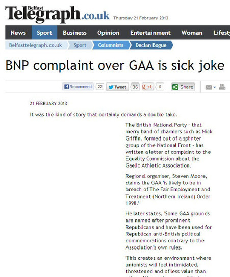 Simon Darby: Belfast Telegraph's Coverage of BNP Complaint Over GAA is sick joke | The Indigenous Uprising of the British Isles | Scoop.it