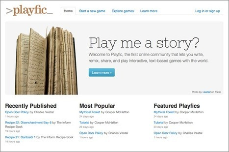 Introducing Playfic - Waxy.org   Interactive Fiction and Digital Game-based Learning   Scoop.it