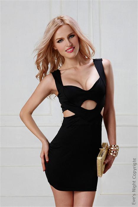c6a066db6 Classy Cutout Black Slinky Mini Cocktail Dress By Eve s Night