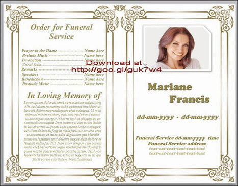 Obituary Template For Funeral In Microsoft Word Free Download Traditional  Design | Funeral Program Templates |  Free Templates For Funeral Programs