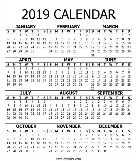 2019 Calendar PDF Template' in SaveCalendar | Scoop it