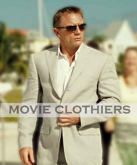 Daniel Craig Casino Royale Suit Blue Three Pi