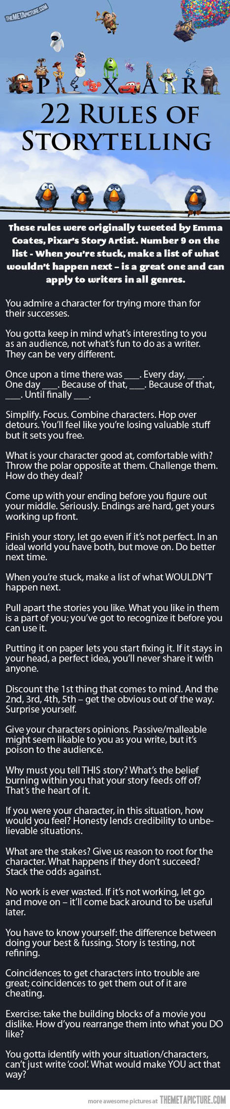 Pixar's 22 Rules Of Storytelling | The Meta Picture | Scriveners' Trappings | Scoop.it