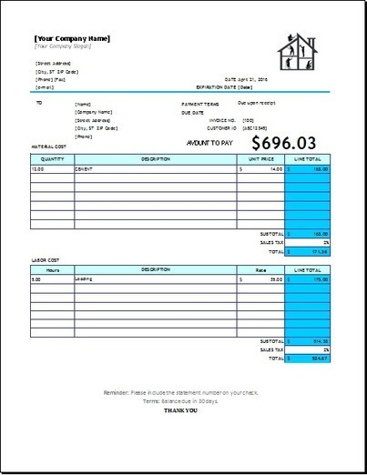 Nice Home Repair Invoice Template For EXCEL On Home Repair Invoice
