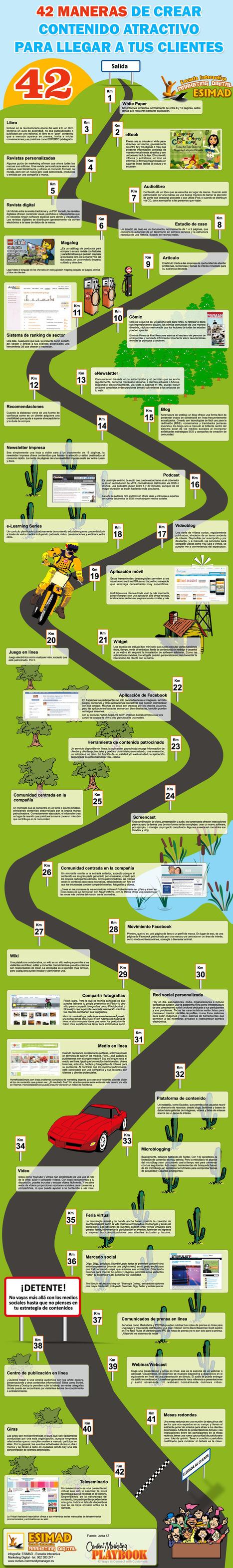 42 maneras de crear contenido atractivo #infografia#infographic#socialmedia | Aplicaciones web | Scoop.it