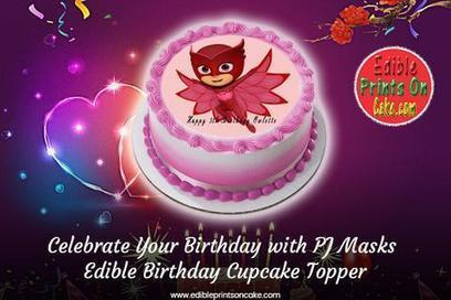 Fantastic Pj Masks Edible Birthday Cupcake Topper In Birthday Cake Toppers Funny Birthday Cards Online Sheoxdamsfinfo