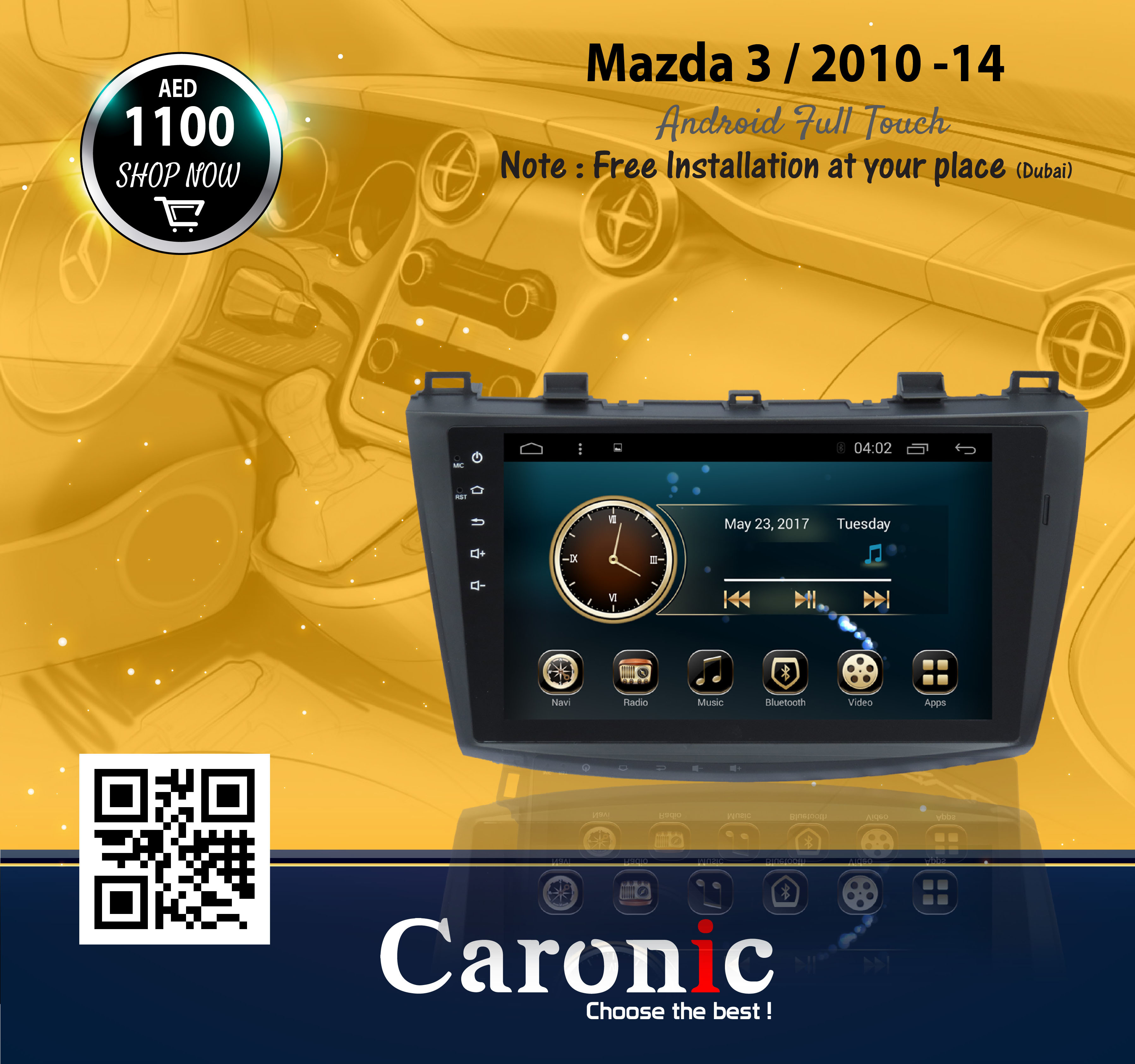 Mazda 3 / 2010 - 14 Android Full Touch | Car Ac