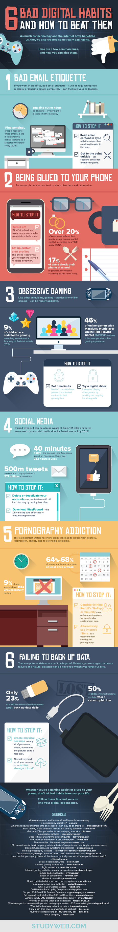 6 Bad Digital Habits and How to Beat Them Infographic | Uppdrag : Skolbibliotek | Scoop.it