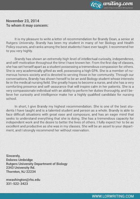 medical school letter of recommendation sample