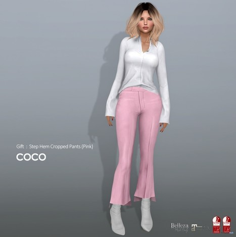 bf2558dca5e Step Hem Cropped Pants Pink March 2019 Gift by COCO Designs