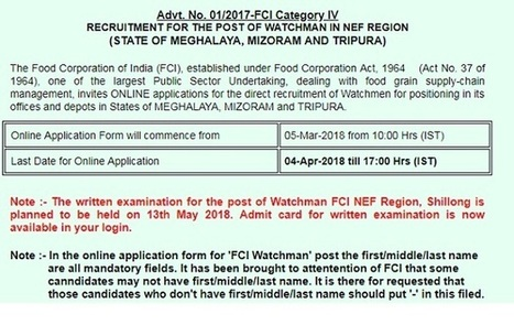 FCI Watchman Admit Card' in Government Jobs Recruitment