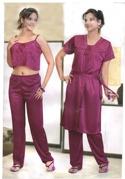 0660263633 Indiatrendzs Maroon Silk Satin Nighty 3 pc Sets Bedroomwear -Free Size   Amazon.in  Clothing   Accessories
