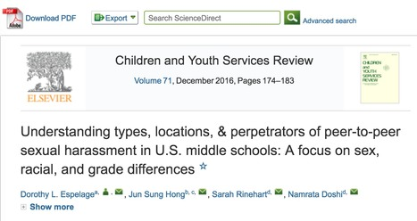 Understanding Types, Locations, & Perpetrators of Peer-to-Peer Sexual Harassment in U.S. Middle Schools: A Focus on Sex, Racial, and Grade Differences // Espelage, Hong, Rinehart, & Doshi, 2016, Ch...   Safe Schools & Communities Resources and Research   Scoop.it