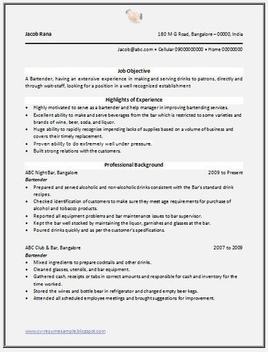 Over 10000 CV and Resume Samples with Free Download: Bartender Resume Sample