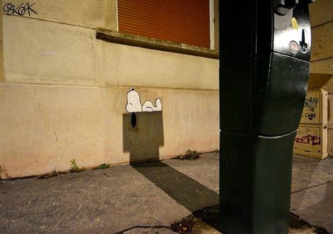 A Shadowy #Snoopy on the Streets of Saint-Etienne, France by OakOak. #art #shadow #streetart | Luby Art | Scoop.it