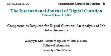 Digital Curator: The Competencies Required - A Study | Weblearner | Scoop.it