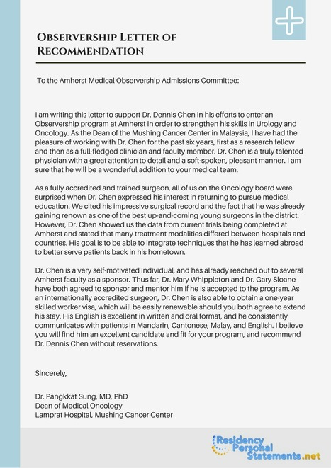 Observership Letter Of Recommendation Sample