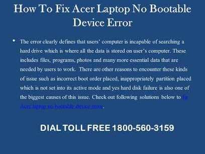 How To Fix Acer Laptop No Bootable Device Error