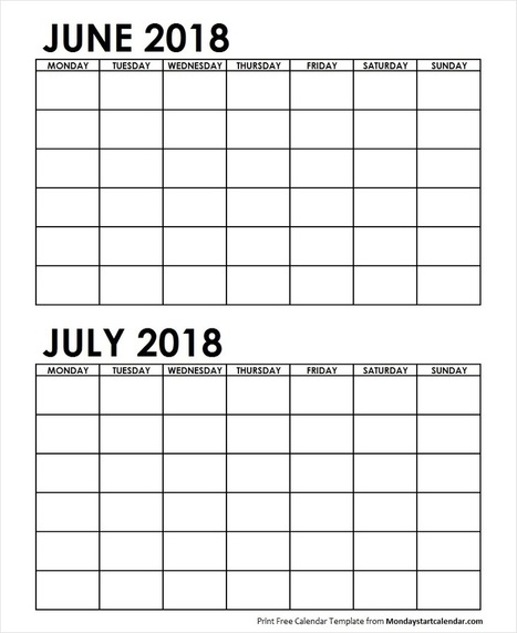 Two Month June July 2018 Calendar Blank