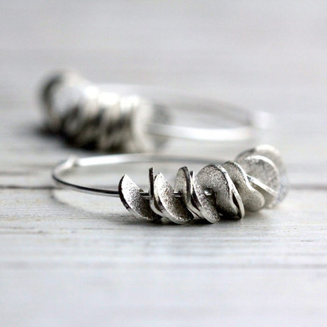 Small Hoop Earrings with Sterling Silver and Silver Ruffles | Etsymode | Scoop.it