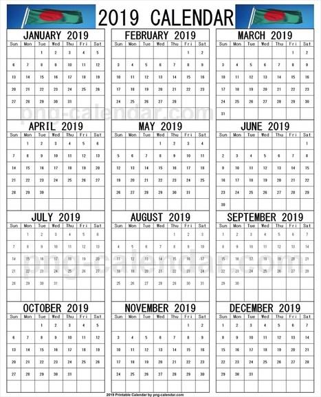 Year 2019 Bangla Calendar Template | PNG&n