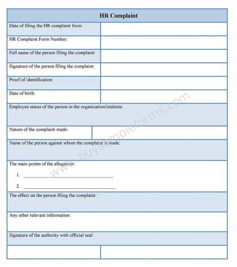 Hr Complaint Form Template | Sample Forms | Sc