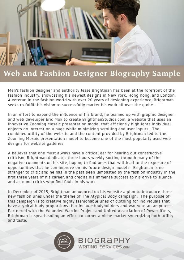 Web And Fashion Designer Biography Sample Bes
