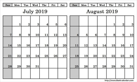 July And August 2019 Calendar Template