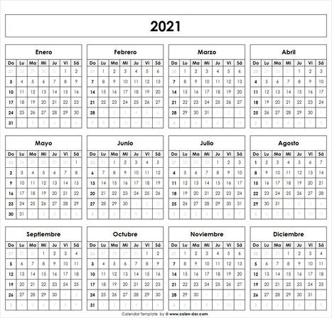 Calendario 2021 Para Imprimir por meses | Model